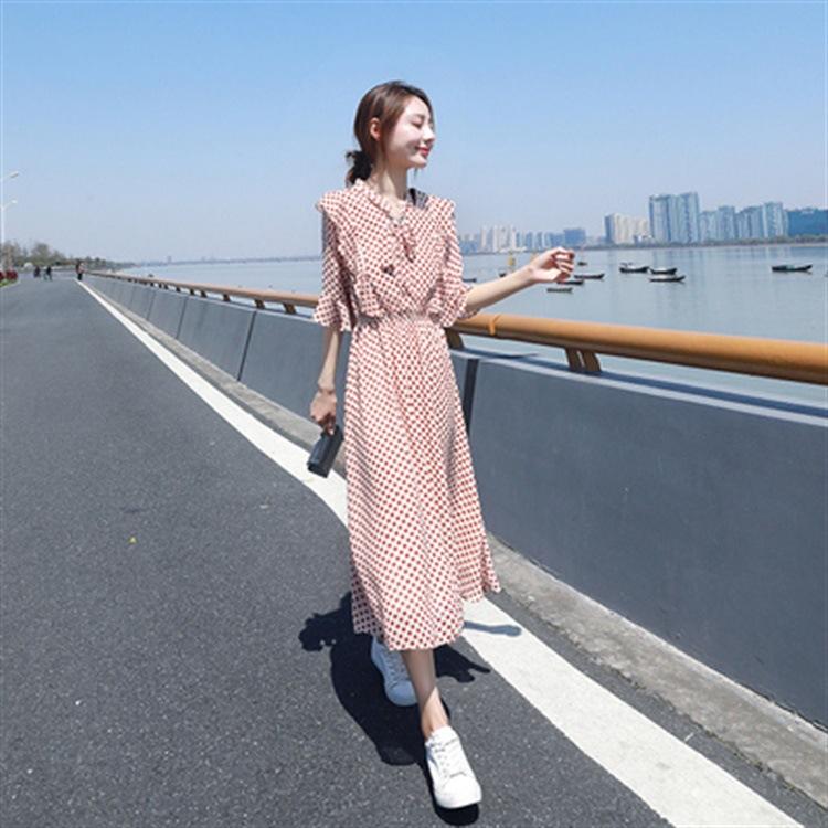 红色波点雪纺连衣裙夏季中长款过膝小清新青春流行仙女裙子女
