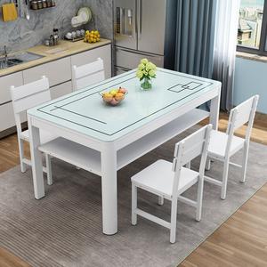 餐桌椅组合现代简约长方形家用小户型饭桌子4人6人小餐桌双层桌子