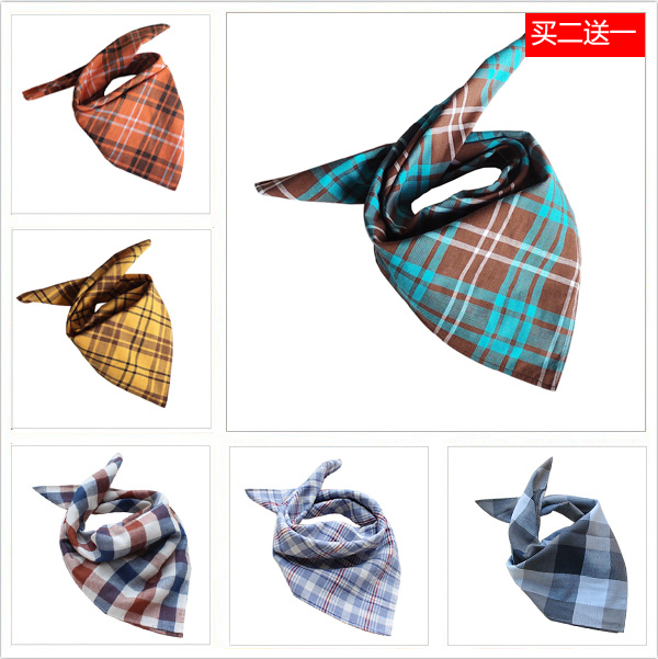 Men and women riding face covering triangular towel sports sweat absorbing head scarf neck scarf square towel double-layer lattice