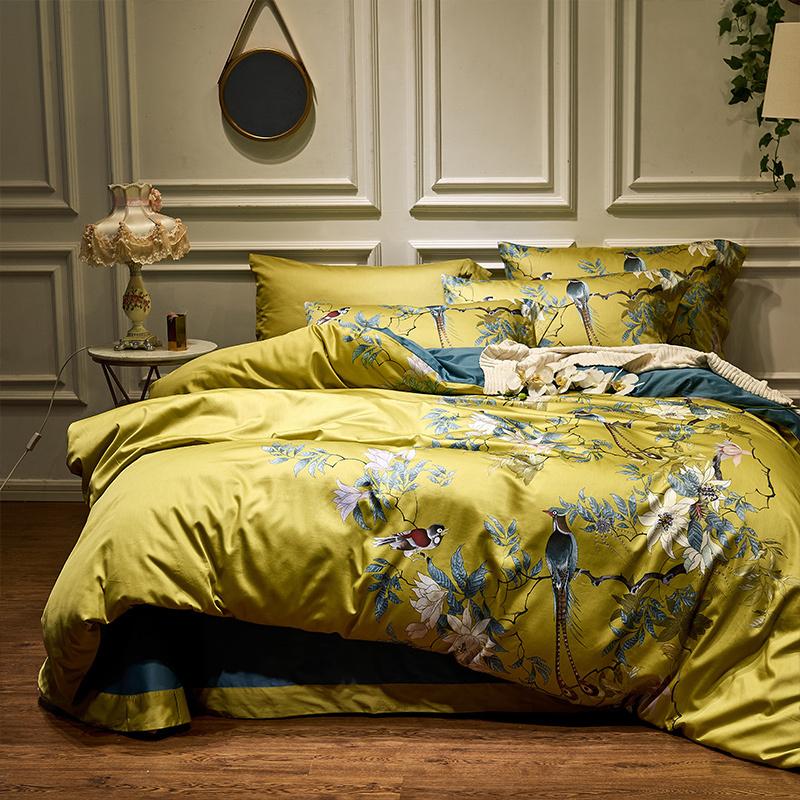 60支中式埃及长绒棉四件套全棉田园风格黄色床单被套纯棉床上用品