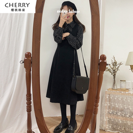 洋气背带连衣裙复古减龄秋冬季冬裙子套装女韩版学生学院风两件套