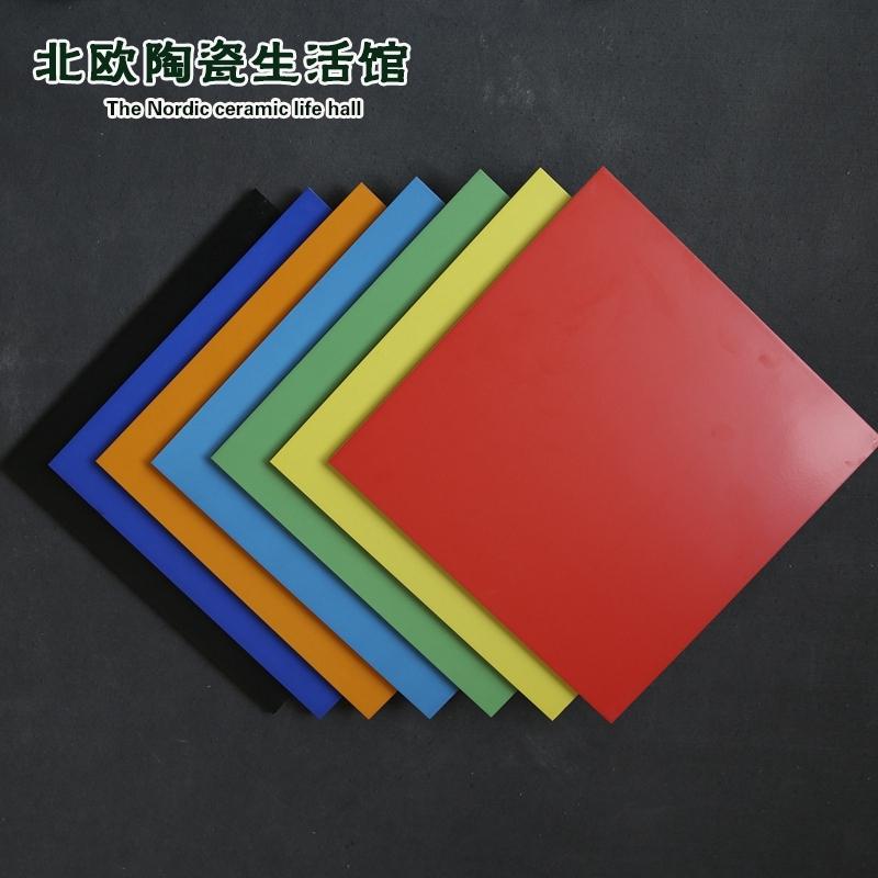 彩色幼儿园瓷砖防滑地砖300x300大红色桔色蓝色青色卫生间墙砖