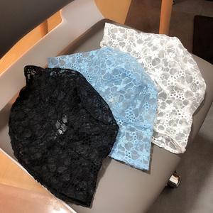 韩国ins浅蓝色镂空花朵蕾丝渔夫帽女夏季时髦百搭盆帽遮阳帽子潮