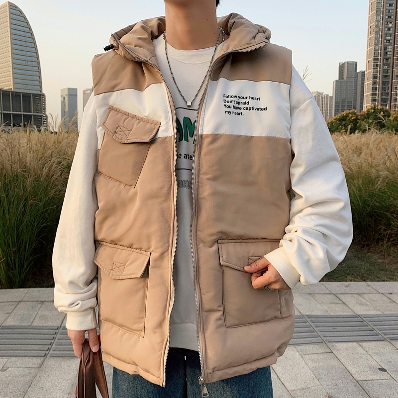 2021 autumn and winter thickened cotton vest trendy mens hooded printed cartoon cotton vest dsa013-mj06-p88 ext. 2
