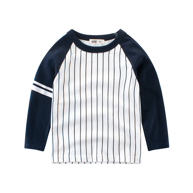 2019新款春秋装男童T恤 童装长袖纯棉 中小童条纹体恤 儿童打底衫热销360件五折促销