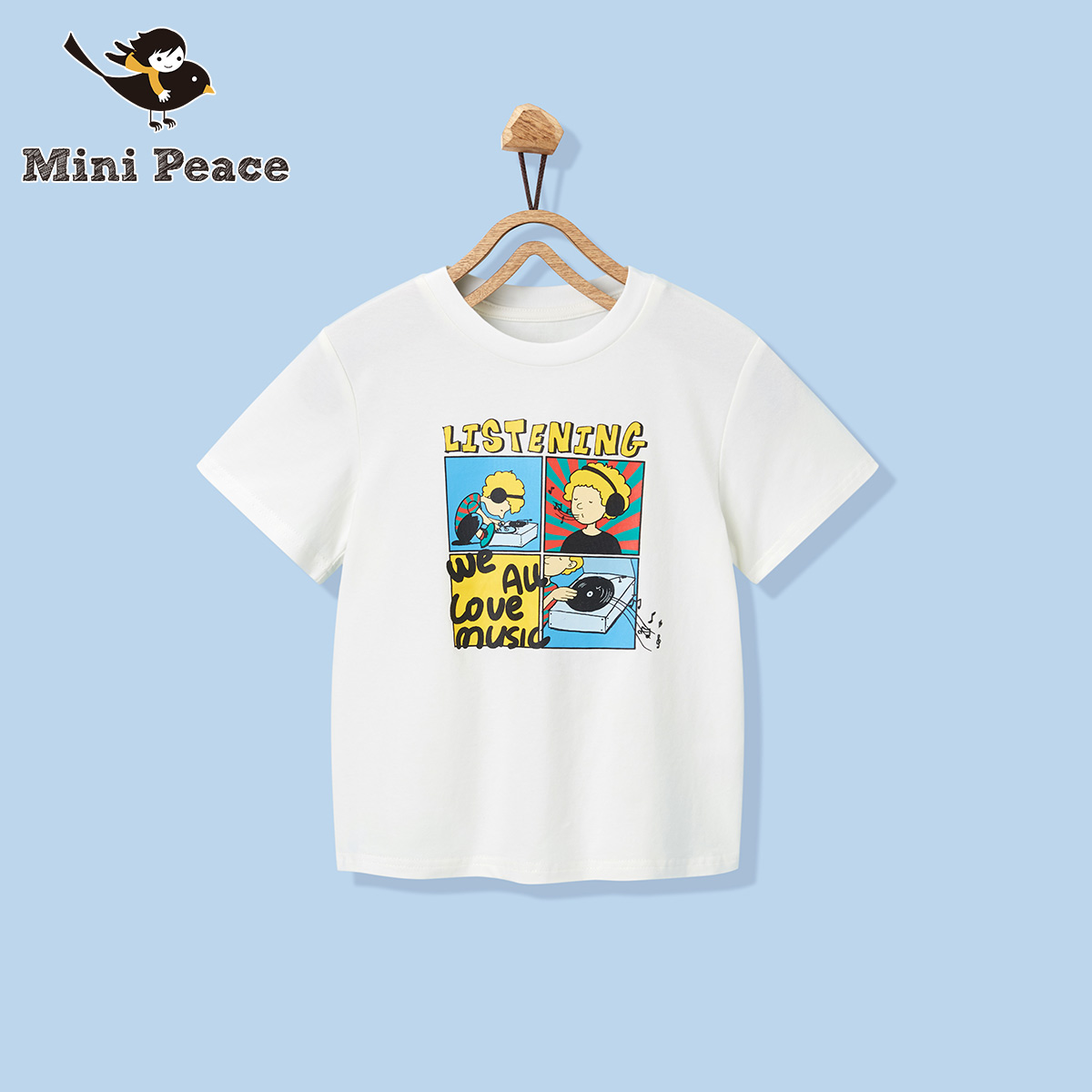 Minipeace kids' white cartoon printed short sleeve T-shirt 2020 new children's T-shirt summer