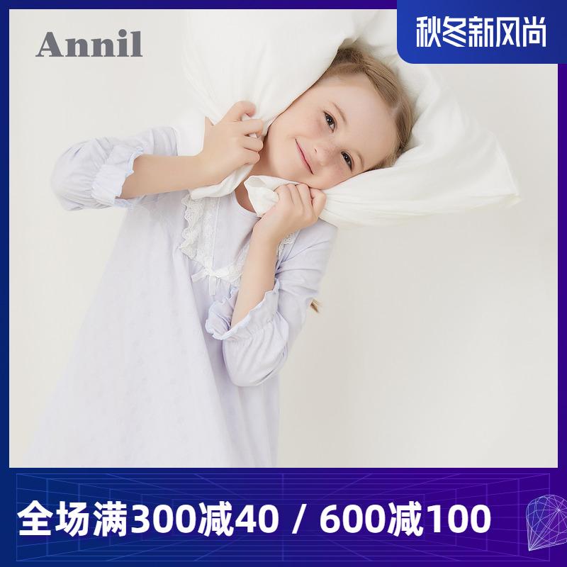 安奈儿童装女童长袖连衣裙2020春夏新款纯棉荷叶蕾丝花边睡裙甜美