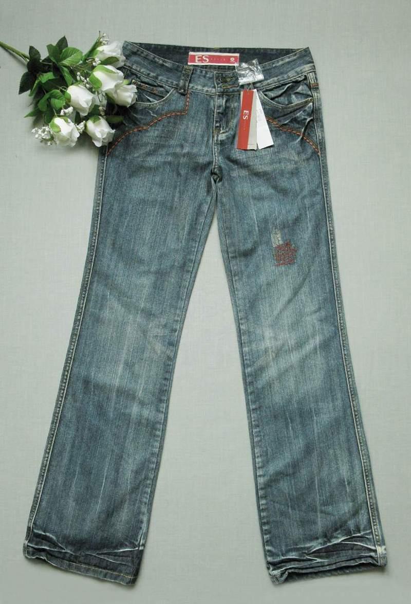 店庆85折  Et*蓝色直筒牛仔裤165 72A(38) 两件包快  0714