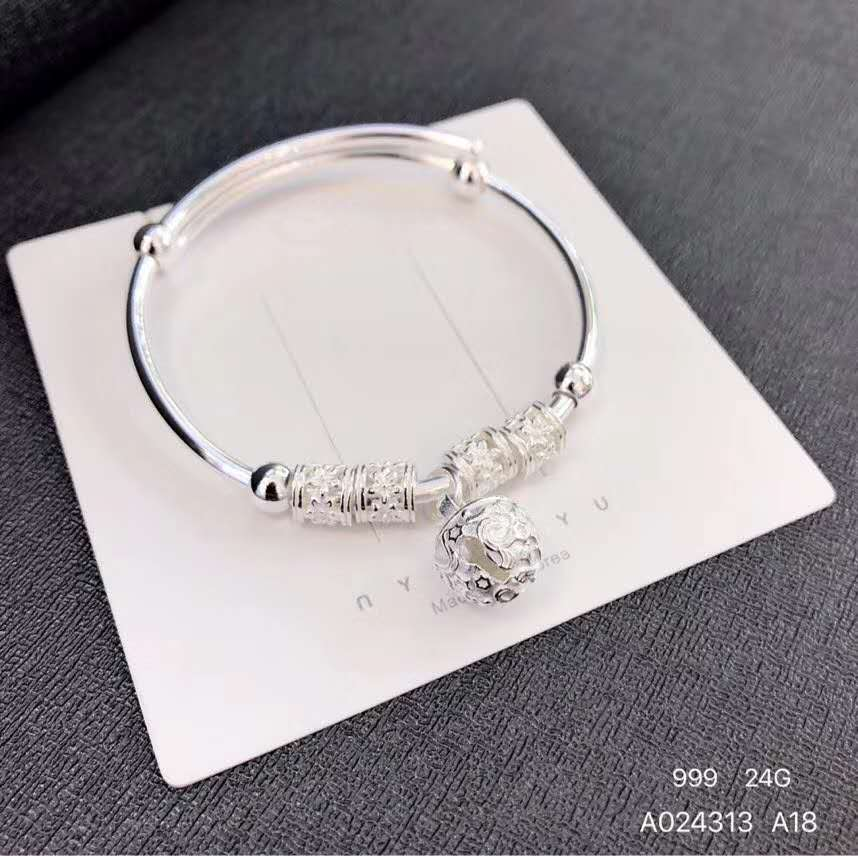 999 Sterling Silver Seiko fashion push-pull BEADED SILVER BRACELET for girlfriend gift
