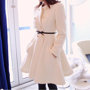 Dongdaemun 2014 new winter long section of double breasted wool coat sweet skirt Slim was thin coat