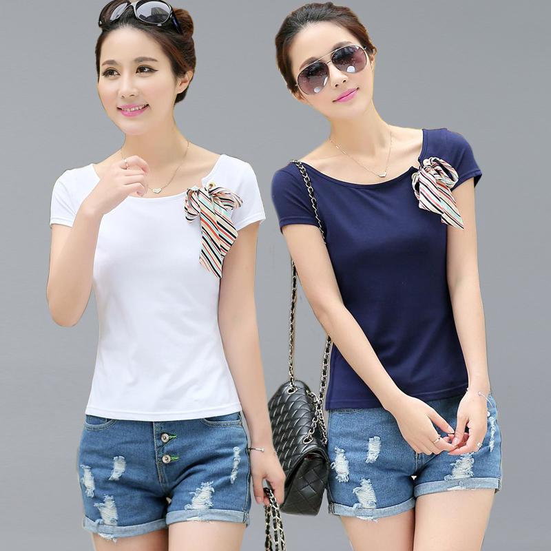 [Code Breaking clearance] 2020 new Korean elastic slim cotton short sleeve vest round neck short white T-shirt women