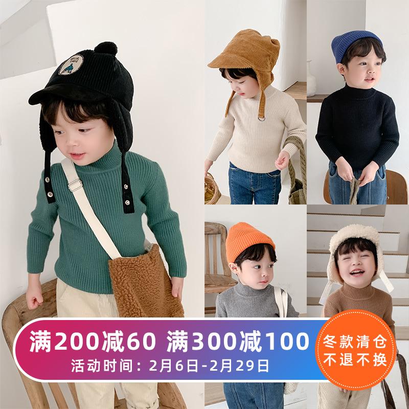 棉小班男童毛衣套头秋冬款韩版儿童半高领加厚针织衫宝宝洋气童装