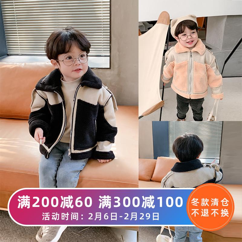 棉小班男童皮毛一体拼接外套冬季儿童加厚夹克宝宝洋气保暖上衣潮