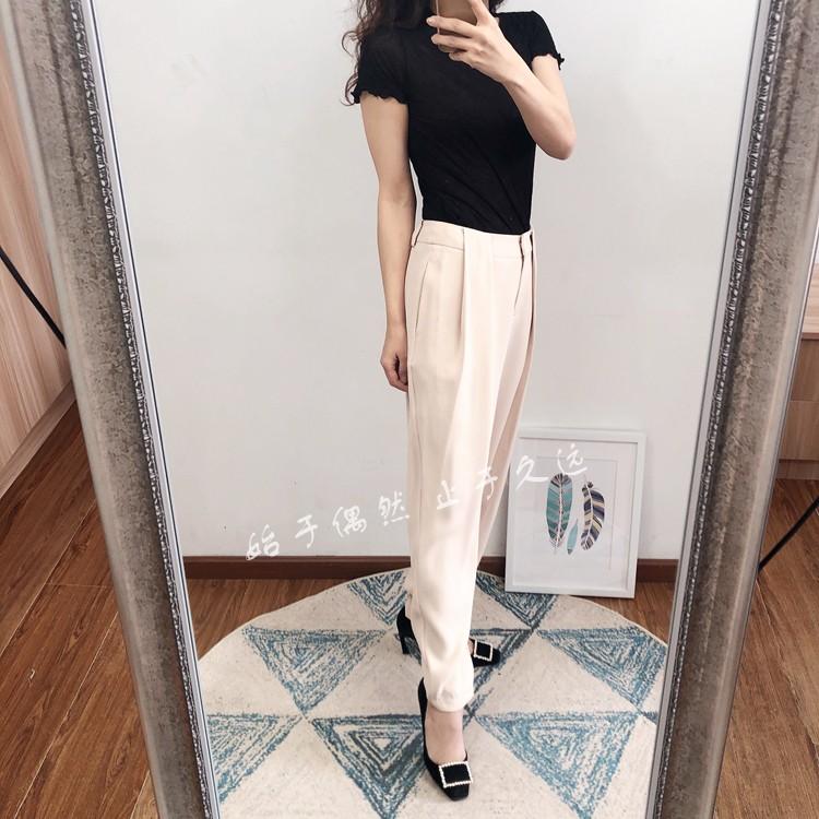 2021秋 复古摩登 自由烂漫腰部褶皱设计感宽松休闲浅色长裤女新款