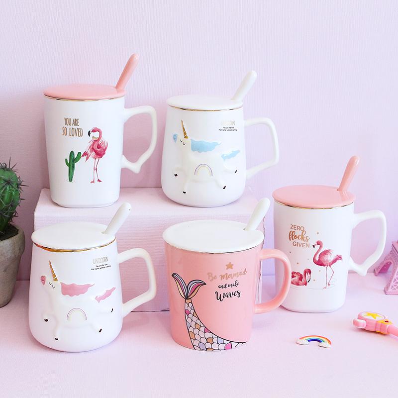 杯子陶瓷杯女马克杯带盖带勺子家用喝水杯可爱儿童骨瓷早餐咖啡杯