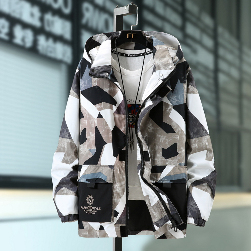 New oversized mens jacket large jacket coat plus fat camouflage windbreaker sports and leisure outer jacket fashion