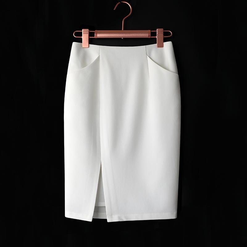 白色包臀裙子2020年春季新款韩版百搭高腰开叉中长款一步半身裙女 thumbnail