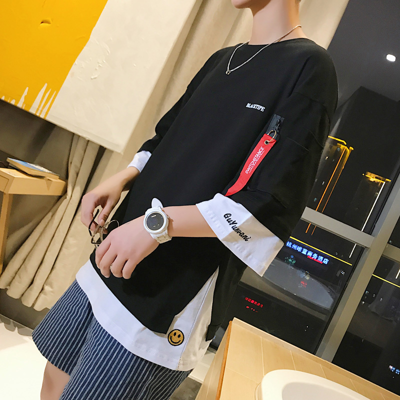 夏季ins短袖t恤男韩版潮流宽松半截袖假两件大码潮牌5分半袖衣服