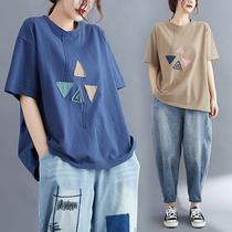小菲家~大码胖MM宽松短袖女上衣夏季2021新款休闲百搭撞色贴布T恤