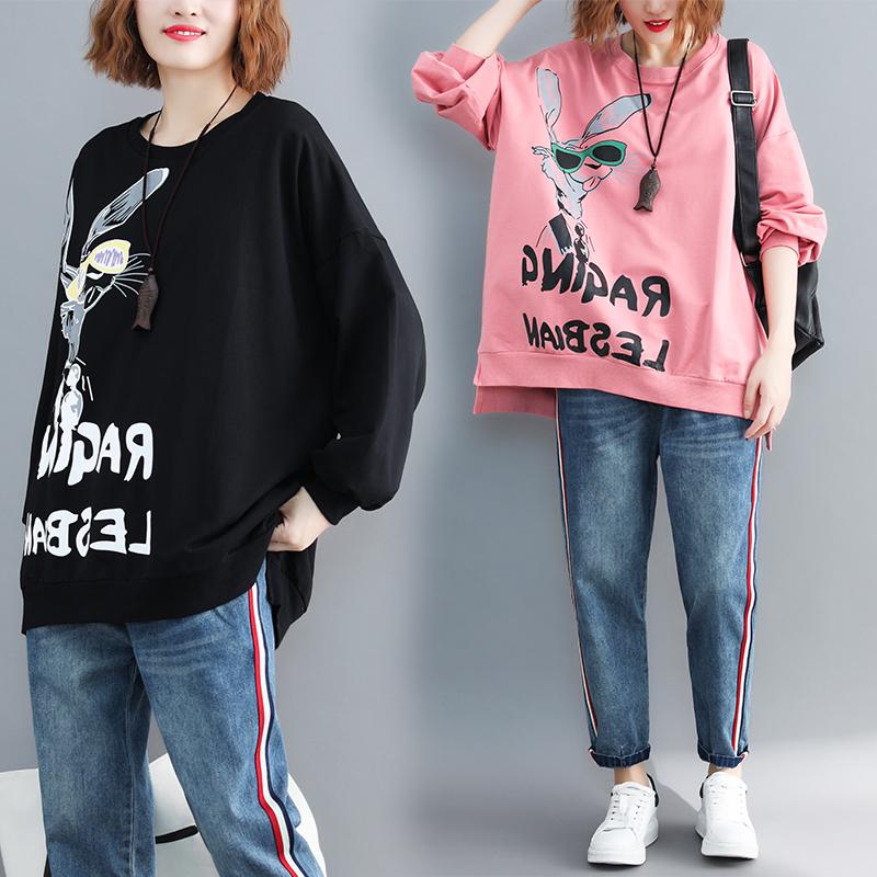 200斤大码秋装卡通印花卫衣女学生中长款慵懒风长袖宽松外套上衣图片