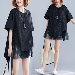 大码女装胖妹妹夏装显瘦洋气遮肚上衣中长款网纱拼接假两件T恤衫