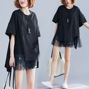 女装 显瘦洋气遮肚上衣中长款 胖妹妹夏装 大码 网纱拼接假两件T恤衫