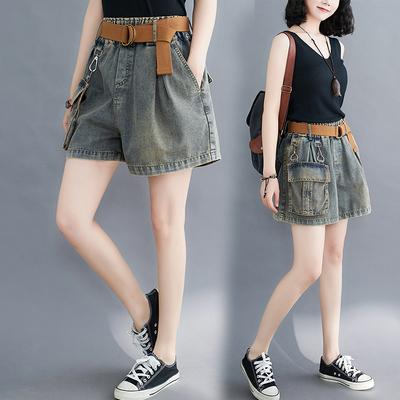 高腰牛仔短裤女2020夏季新款宽松大码个性大口袋显瘦A字阔腿热裤