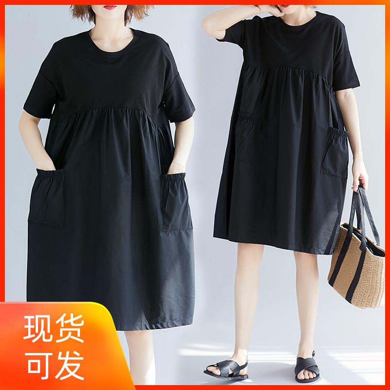 2019夏装新款胖公主宽松大码文艺减龄木耳边高腰显瘦遮肚子连衣裙