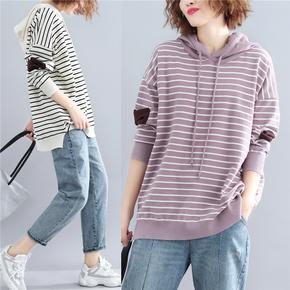 Одежда больших размеров,  Женский большой размер новинка зимний осеннний свободный тонкий полоса свитер закрытый досуг сращивание куртка пальто волна, цена 652 руб