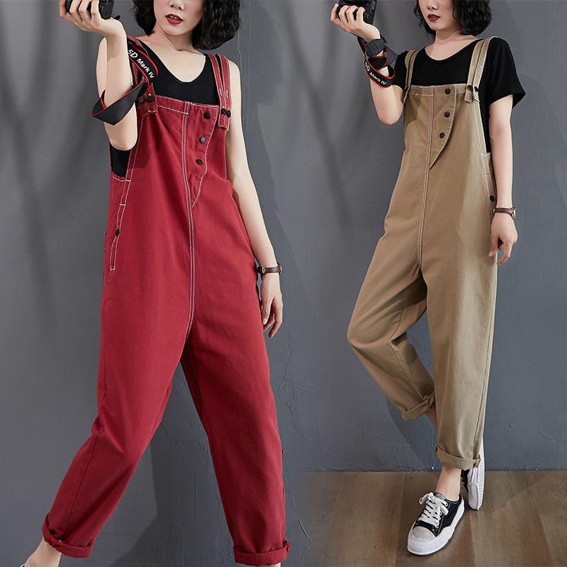 减龄牛仔背带裤女韩版2020夏季新款宽松大码九分裤显瘦高腰连体裤