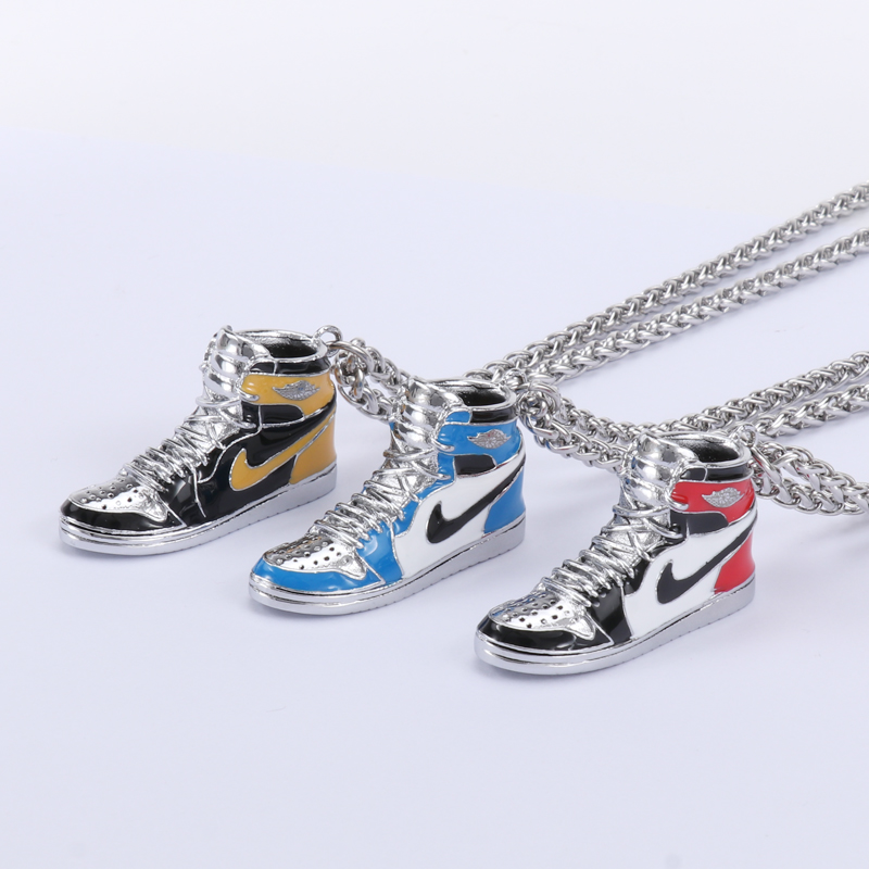 Valentines Day gift aj1 black red toe basketball shoes Pendant 925 silver hip-hop Necklace long men and women lettering