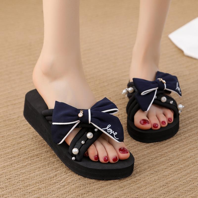 沙滩拖鞋女夏2021韩版新款外穿百搭仙女凉拖鞋坡跟厚底时尚一字拖