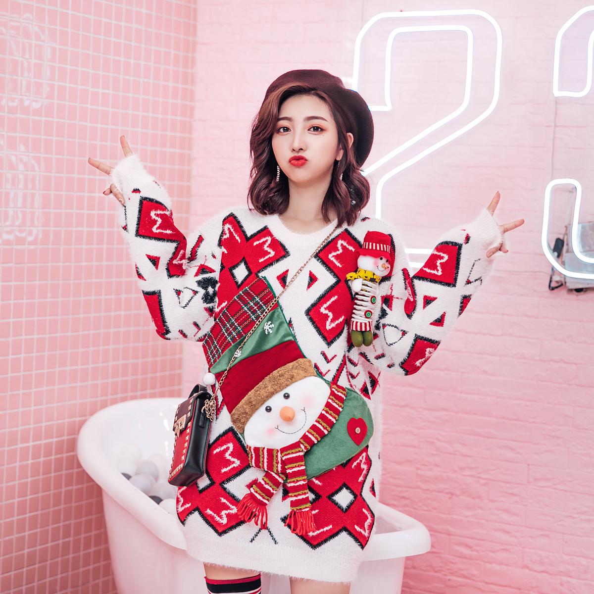 欧洲站2018冬新品圣诞节慵懒风雪人毛衣宽松复古雪花针织衫外套女