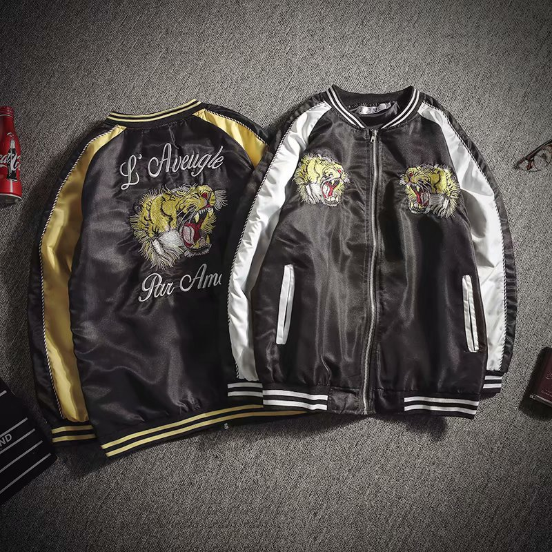 Japanese couples hengxuhe autumn coat mens and womens embroidered crane Satin bomber youth spring and autumn jacket