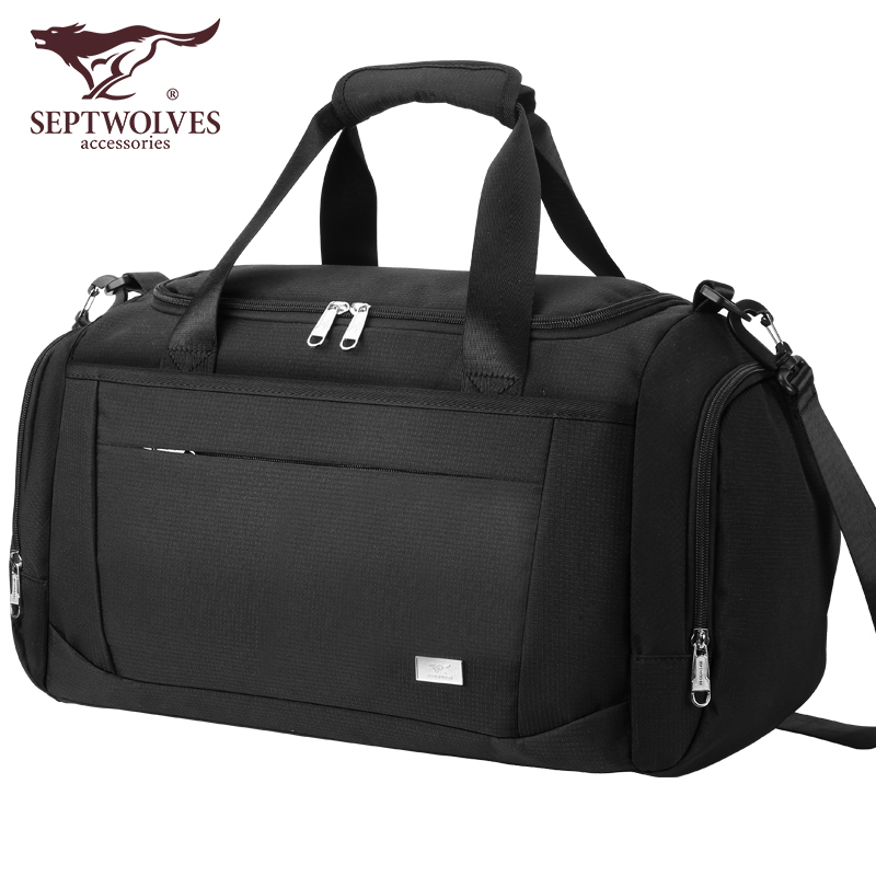Seven wolf travel bag men's large capacity business trip men's luggage bag handbag exercise fitness bag light travel bag