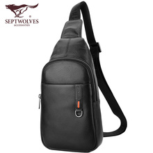 Seven Wolf Breast Bags, Male Leather, Head Layer, Cowhide, Single Shoulder Bag, Skew Bag, Fashion, Young Men's Bag, Outdoor Sports Backpack