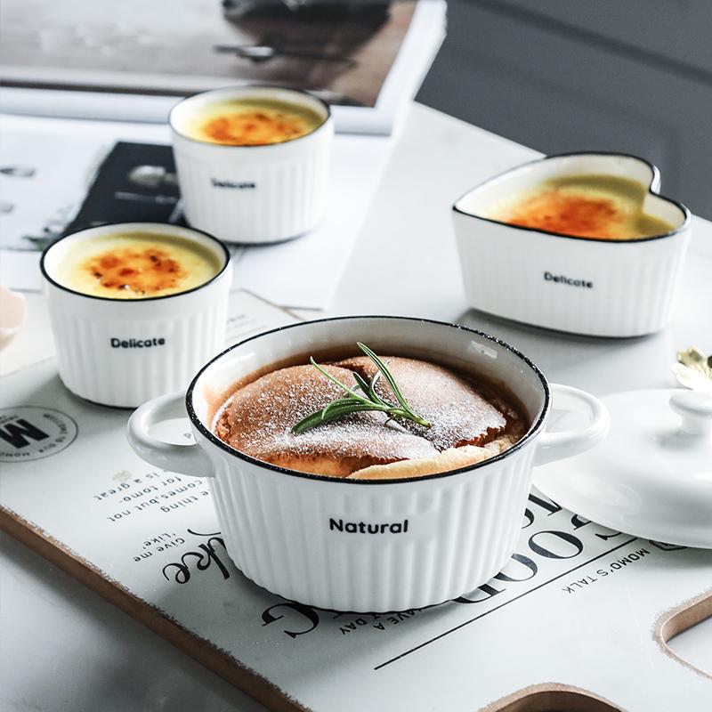 wuxin陶瓷创意舒芙蕾碗蒸蛋烤碗儿童甜品布丁杯烤箱烘焙家用餐具