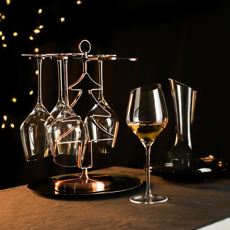 斜口红酒杯套装 家用水晶玻璃欧式奢华2个情侣一对葡萄酒杯高脚杯(用89元券)