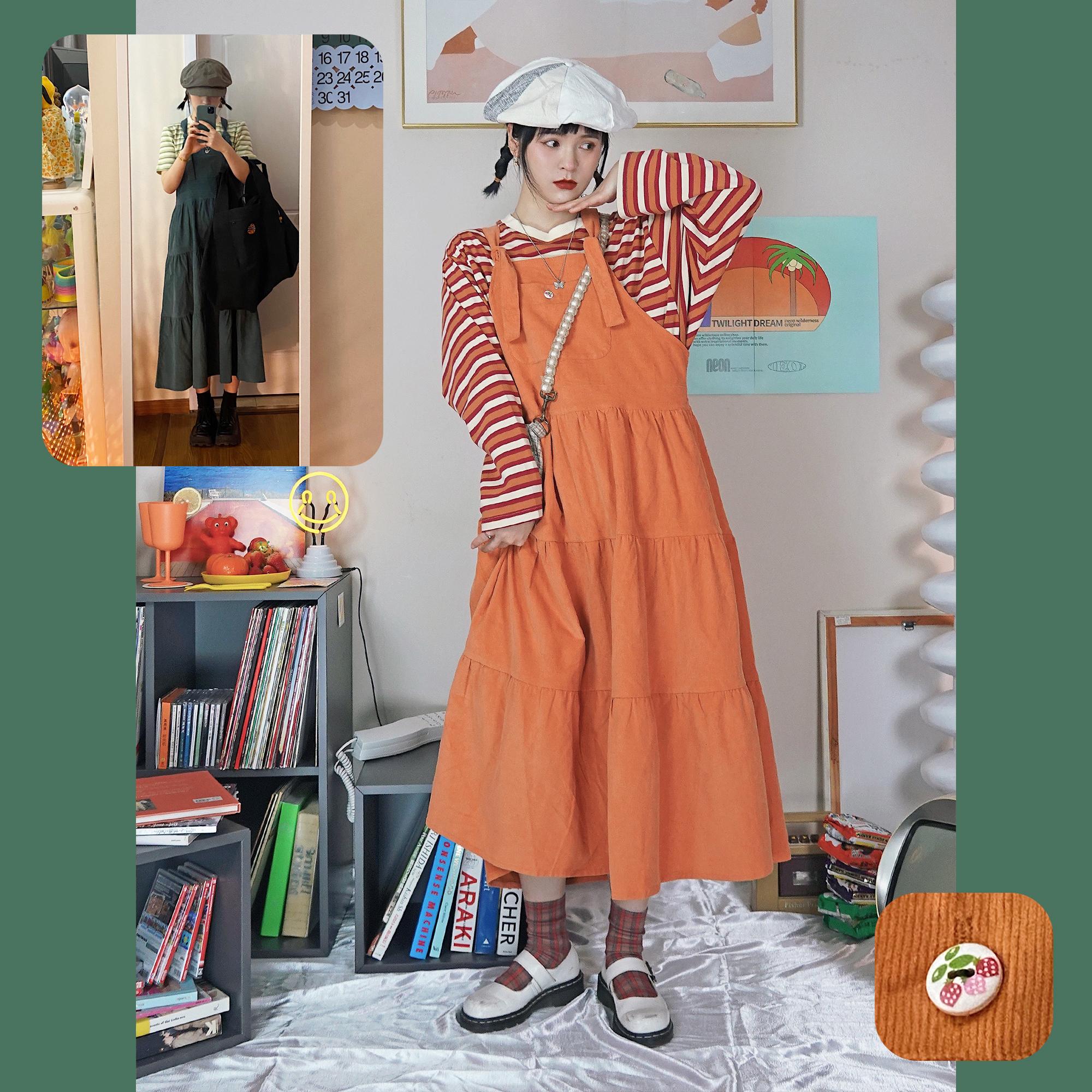 霓虹大荒野|暮色之梦系列 草莓小木扣 古着感长款可爱背带连衣裙