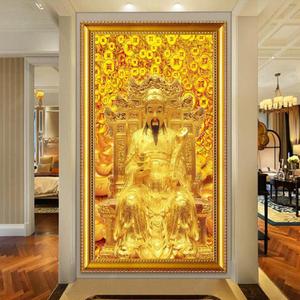5D钻石画满钻贴十字绣客厅玄关现代中式大幅财神爷竖版新款点钻绣