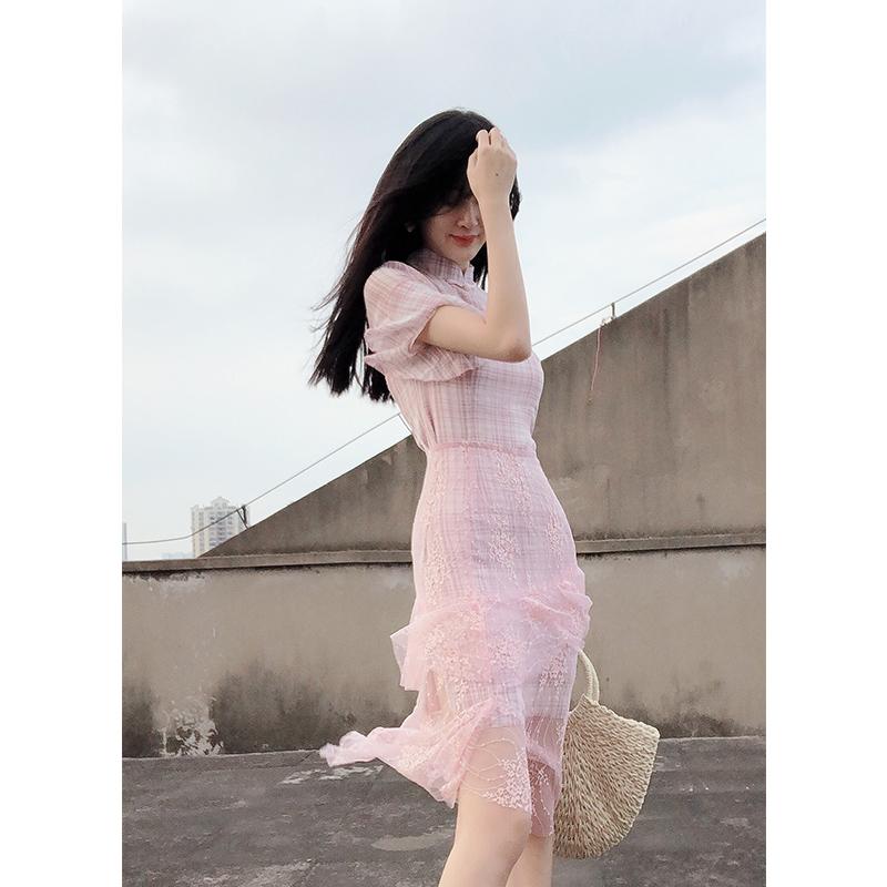 粉色礼服裙平时可穿中长款修身中式小晚礼服女气质宴会连衣裙名媛满398.00元可用140元优惠券