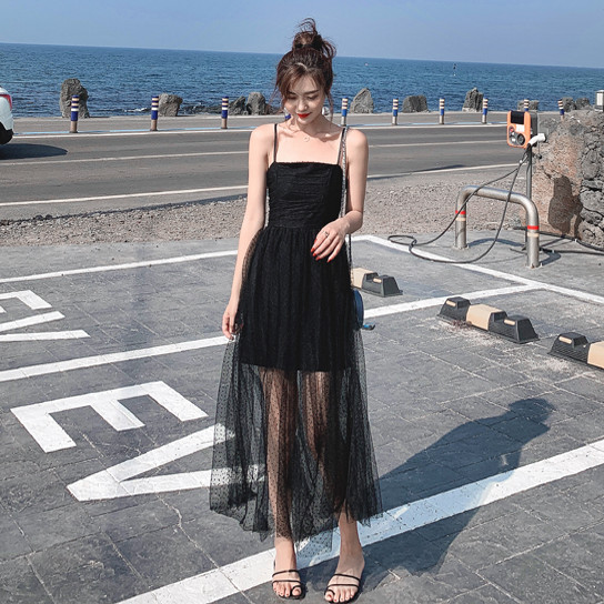 French style back to the ancients very fairy small black dress summer holiday dress wave dot mesh dress women