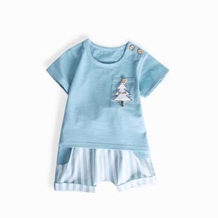 宝宝套装夏季婴儿夏装男童洋气网红5薄款1一2岁3小孩衣服女两件套