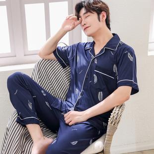 男士睡衣短袖纯棉春秋季开衫睡衣男加大码夏季家居服套装男款青年