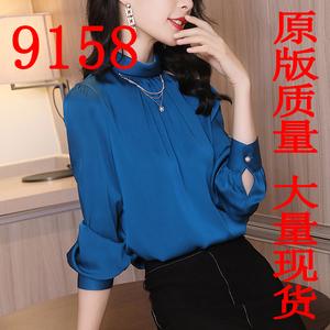 衬衫女长袖2019春秋新款时尚立领?#21487;?#27915;气缎面上衣
