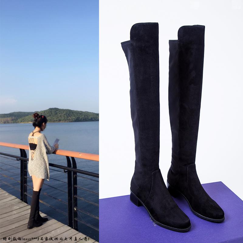 C家自制超显瘦弹力靴SW5050秋冬过膝长靴女高筒粗跟 真皮靴子