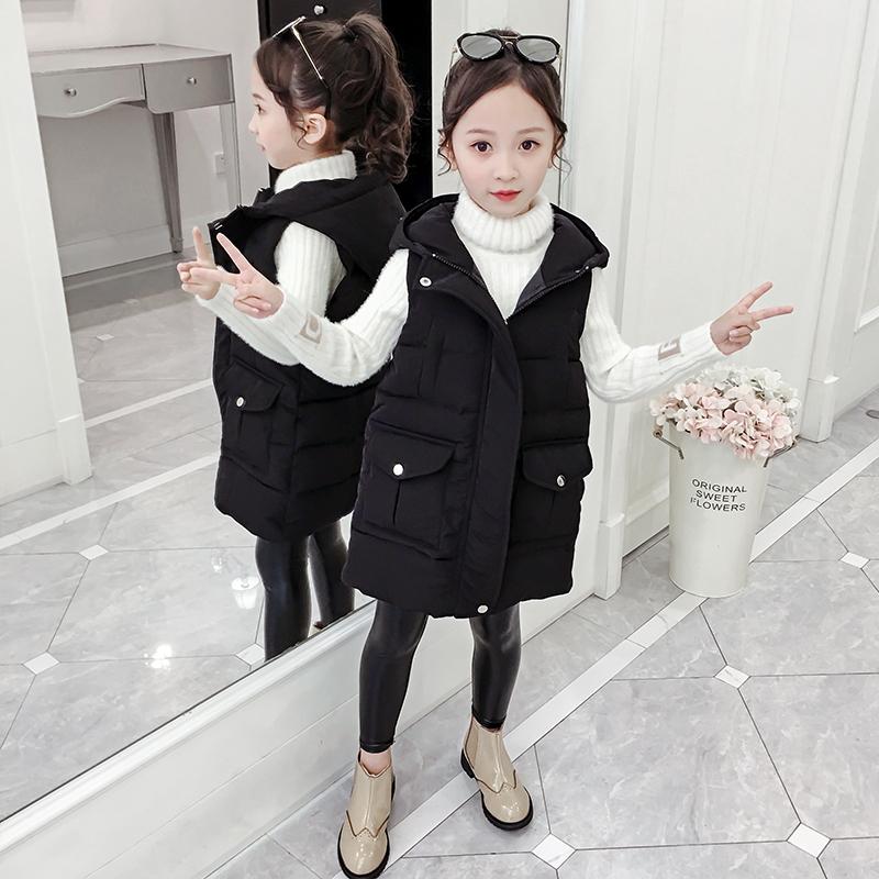 女童马夹棉服中长款冬装2019新款韩版洋气中大童休闲加厚马甲外套