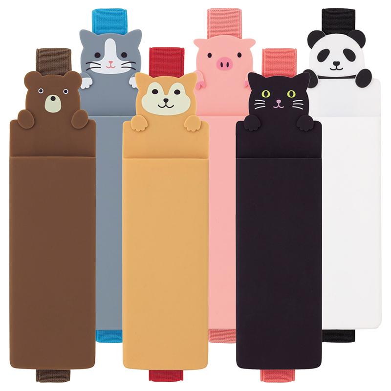 日本LIHIT LAB.PUNILABO可爱卡通硅胶书绑带式笔袋笔筒文具插笔袋