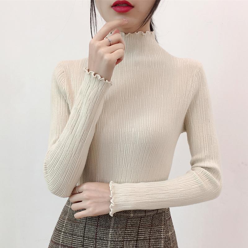 Semi turtleneck sweater womens autumn winter 2020 new slim bottomed shirt long sleeve Pullover Sweater ear collar top fashion