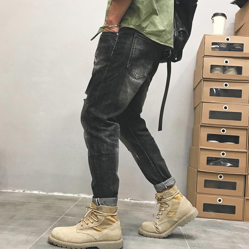 美式青年牛仔裤男士街头休闲潮流复古破洞直筒束脚薄款长裤春秋款